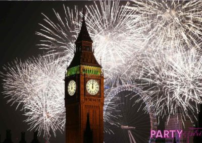 Party Spirit Photo Booth greenscreen background theme, London, United Kingdom fireworks.